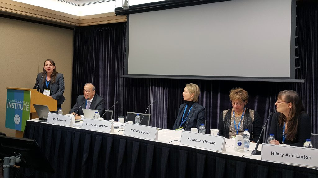 "Angela Bradley (Left) co-chairing ""Neuroscience in ADR: Strategies for Responding to Neurological Reactions in Clients, Counsel and Yourself"" on 7 FEB 2018.  Also on the panel (from left to right): Eric Gossin (Co-Chair), Nathalie Boutet, Suzanne Sherkin, Hilary Linton."